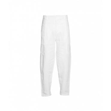 Pantaloni larghi in lino bianco