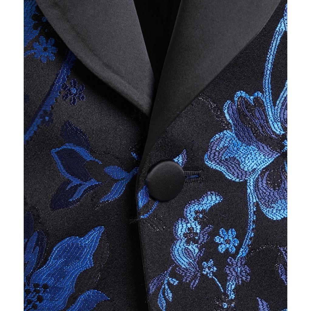 Blazer in broccato floreale blu