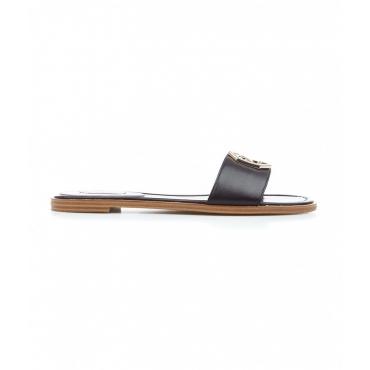 Sandali in sandalo con logo nero