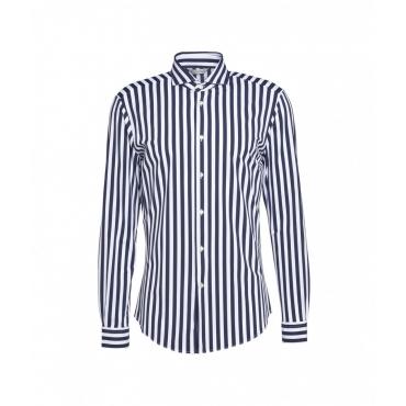 Camicia con strisce a contrasto blu