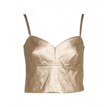 Top in ecopelle oro