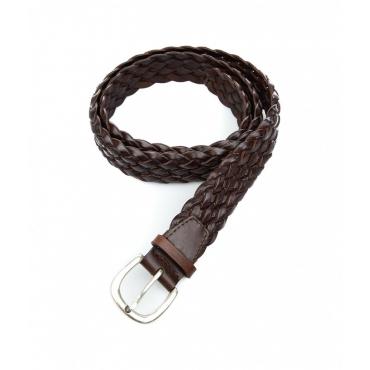 Cintura in pelle intrecciata marrone scuro
