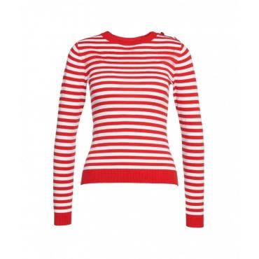 Maglione a strisce orizzontali rosso