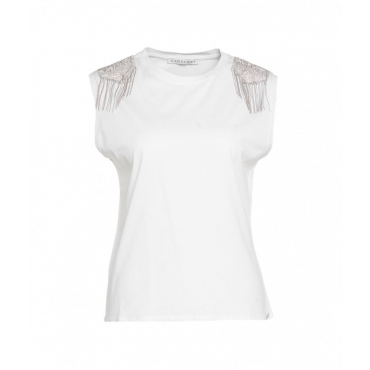 Shirt con spalle in strass bianco