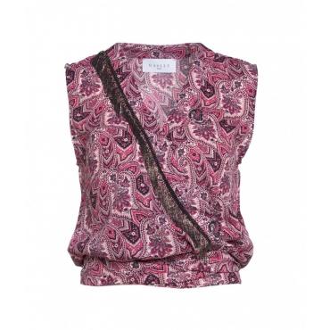 Camicetta con stampa paisley rosa