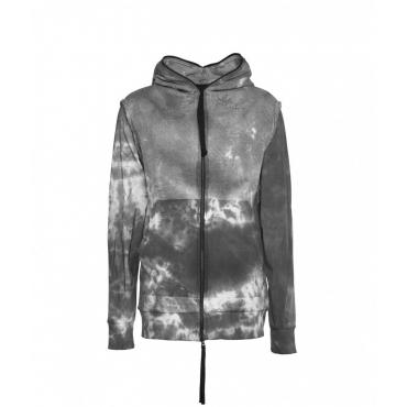 Felpa con zip in tie-dye grigio chiaro