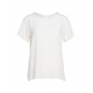 T-shirt in seta crema