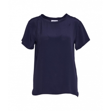 T-shirt in seta blu scuro