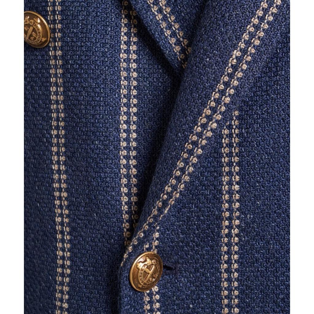 Blazer doppiopetto in lino blu