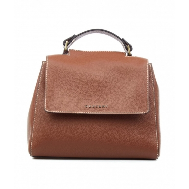 Mini borsa a mano in pelle marrone