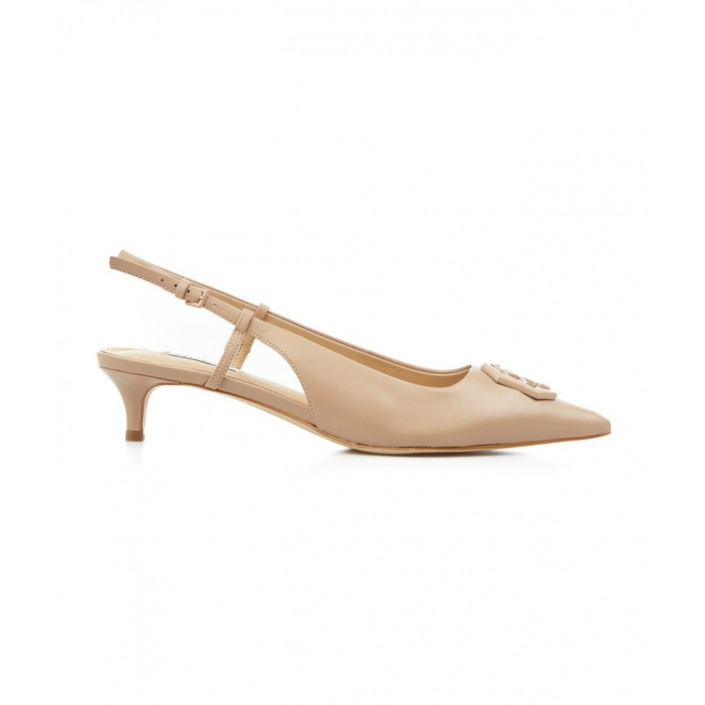 Sling back con logo nude