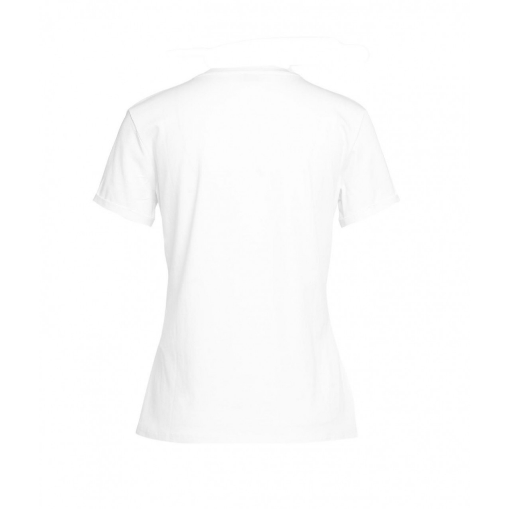 T-shirt con stampa e strass bianco