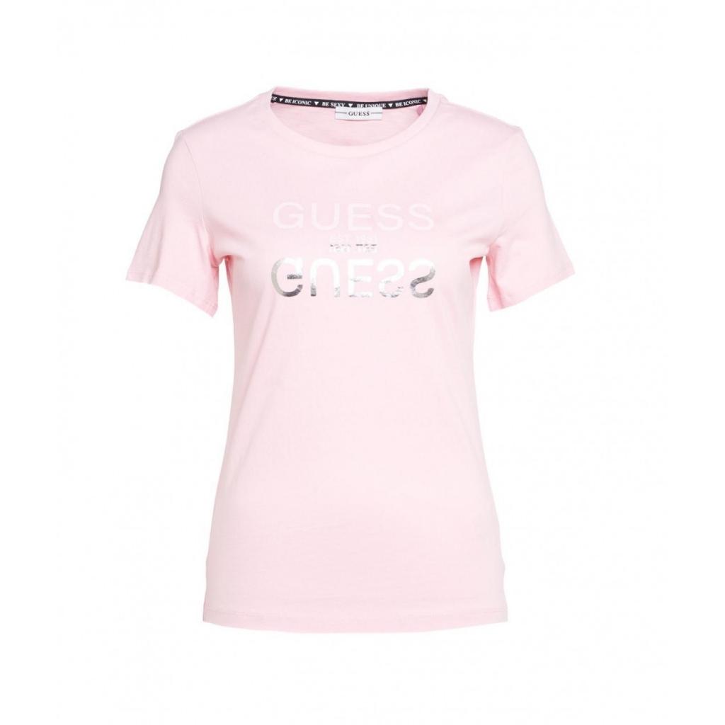 T-shirt con scritta del logo rosa