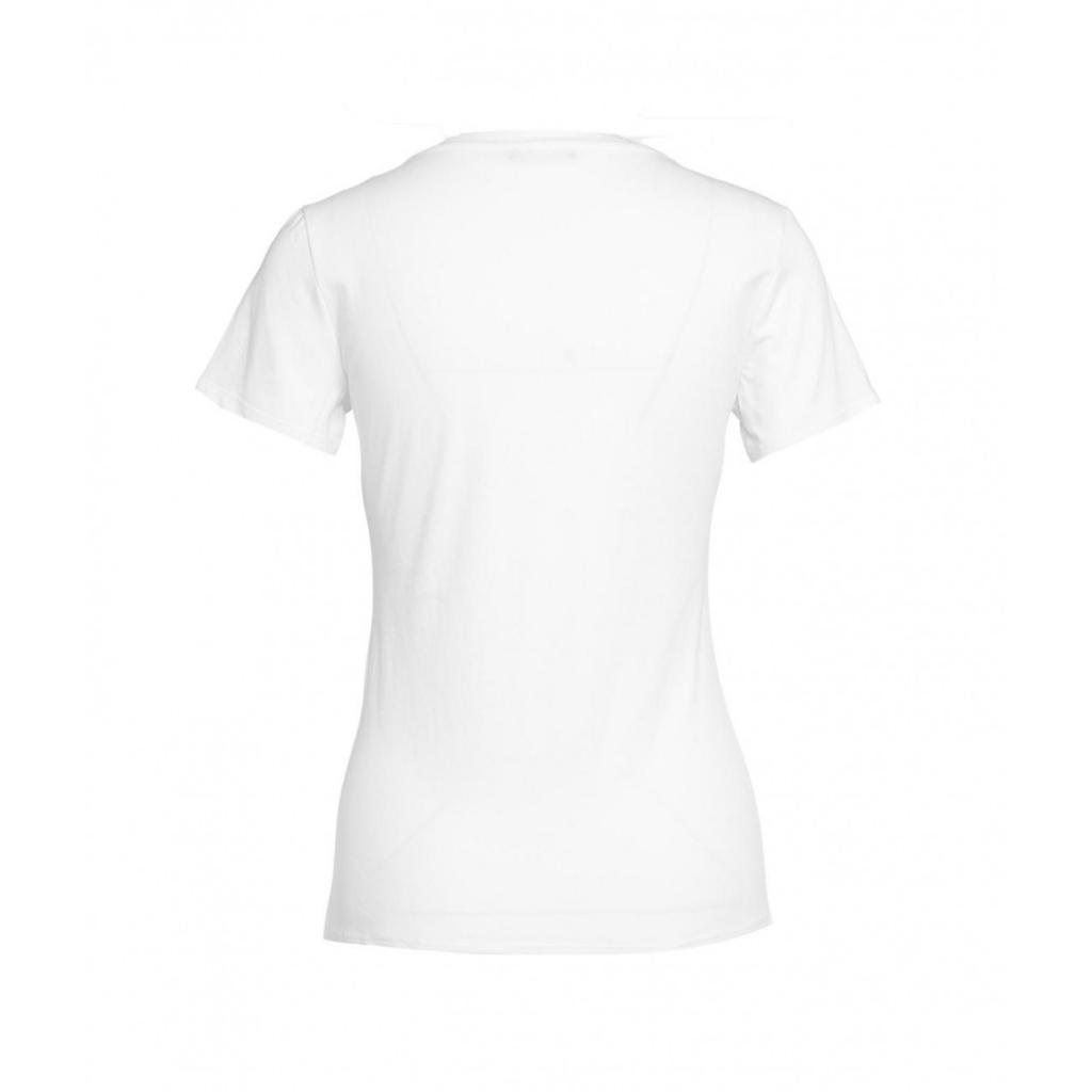 T-shirt con ricamo del logo e strass bianco