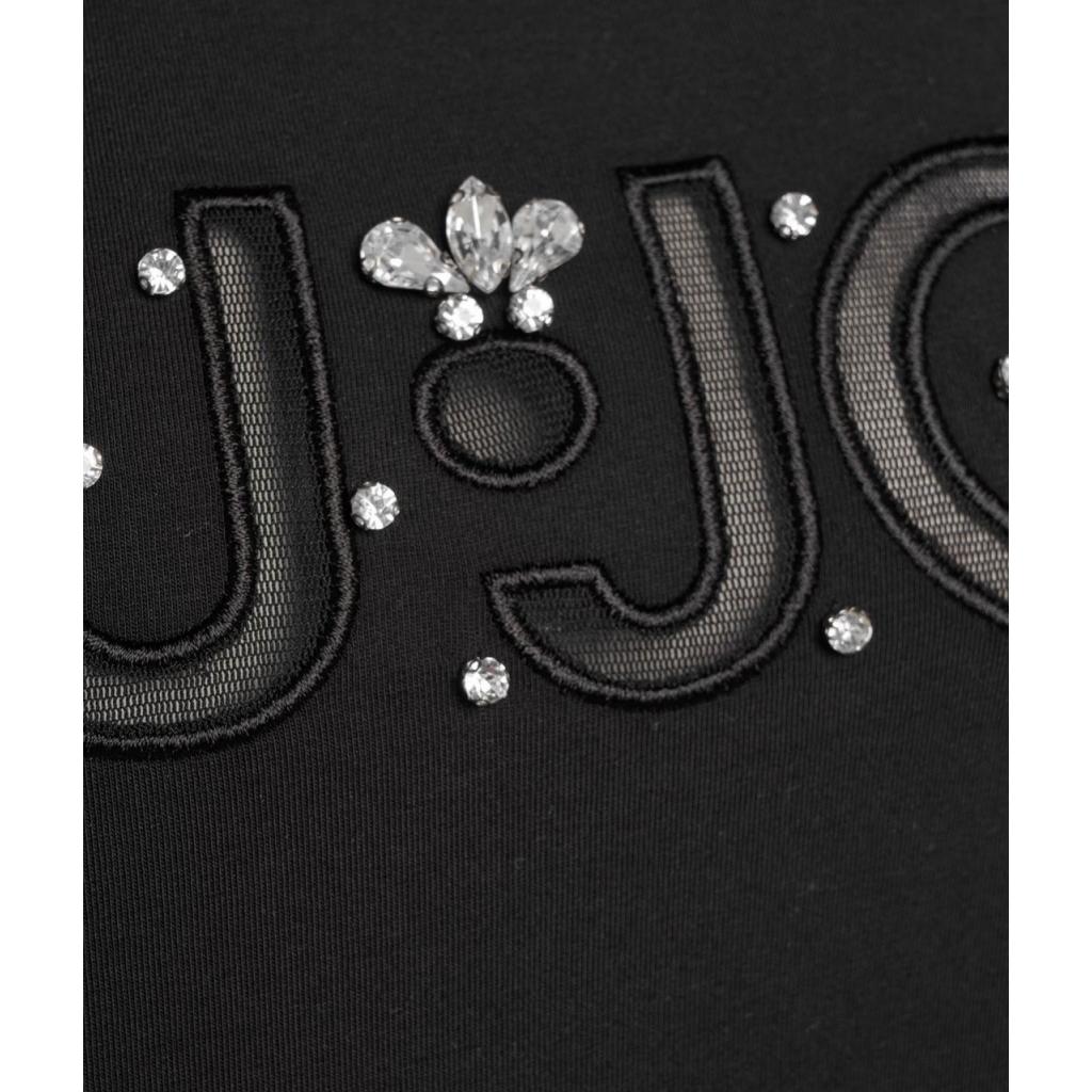 T-shirt con ricamo del logo e strass nero