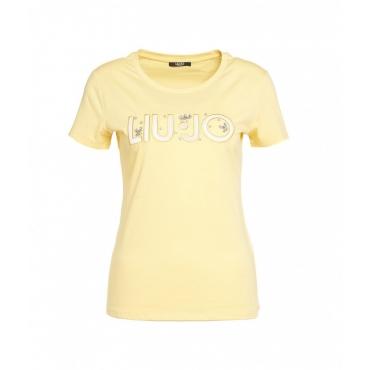 T-shirt con ricamo del logo e strass giallo