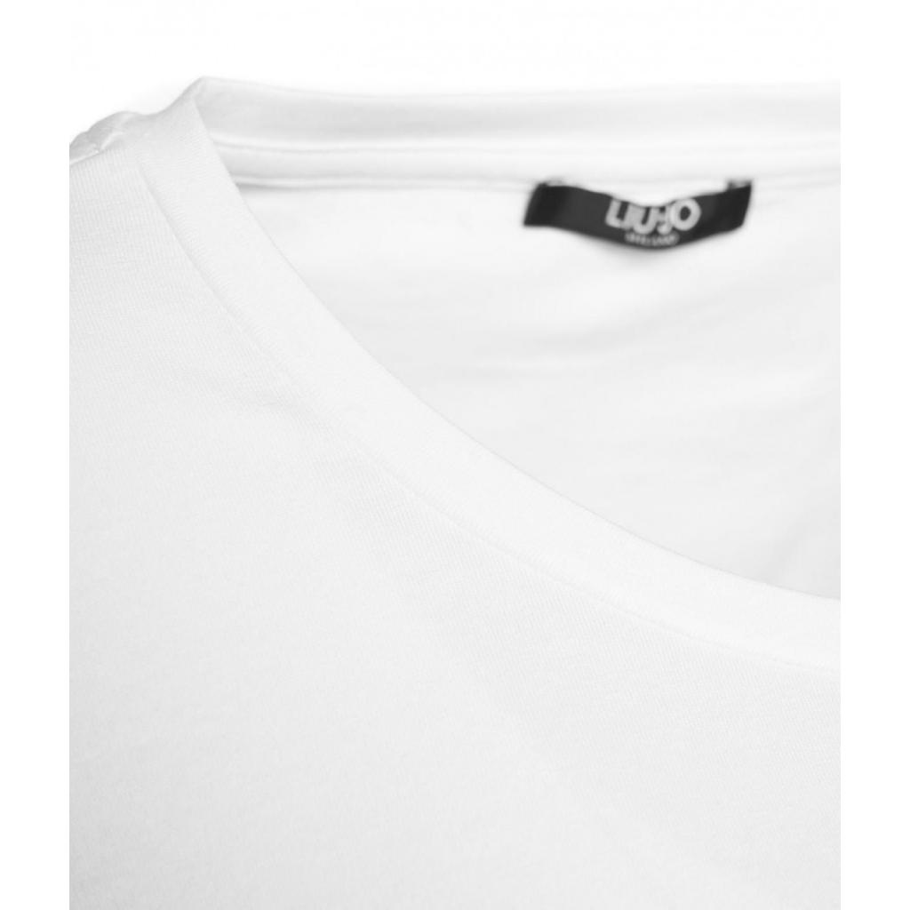 T-shirt con stampa del logo bianco