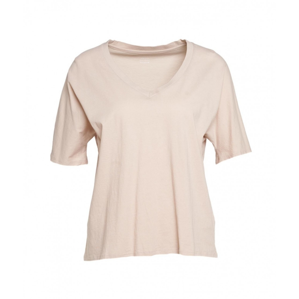 T-shirt con scollo a V beige