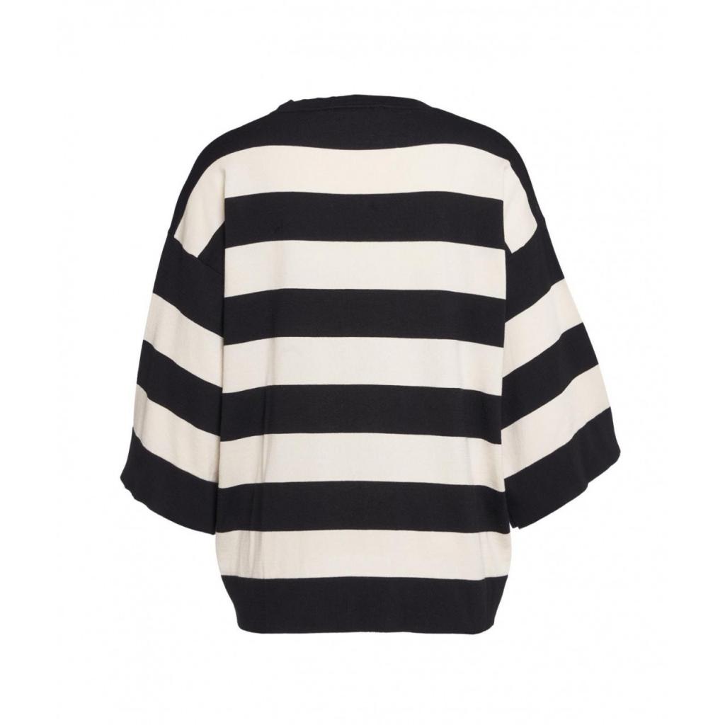 Maglione leggero con righe orizzontali nero