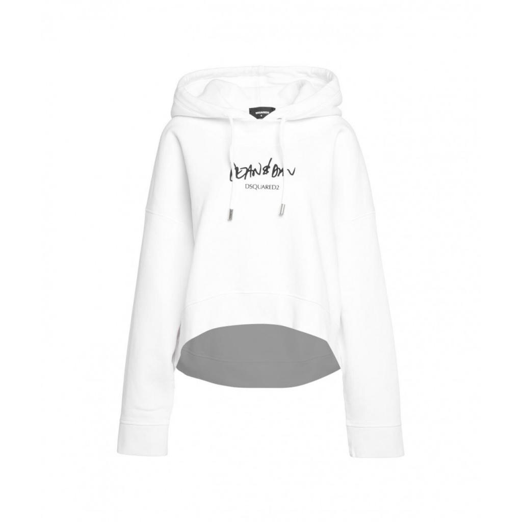 Felpa con cappuccio con stampa logo bianco