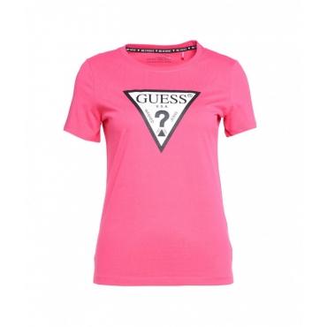 T-shirt con stampa logo pink