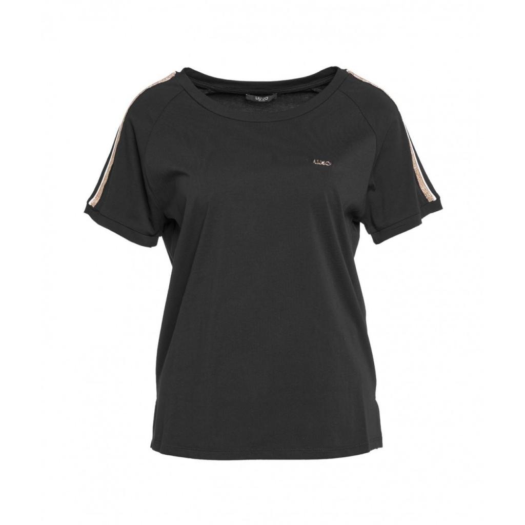 T-shirt con applicazione di glitter nero