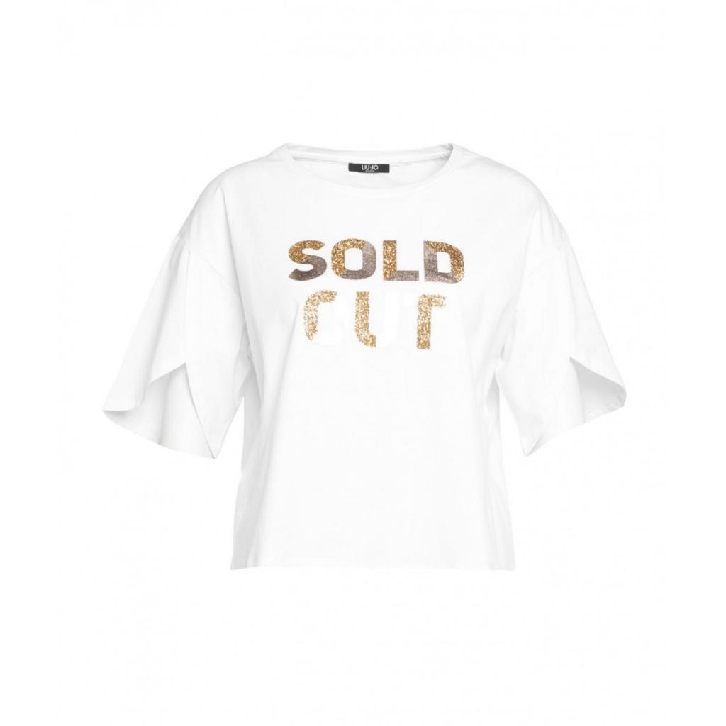 T-shirt con slogan glitterato bianco