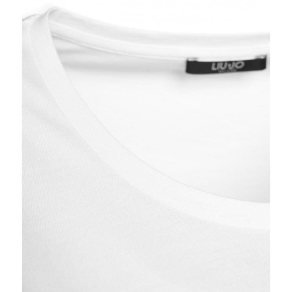 T-shirt con applicazione di strass bianco