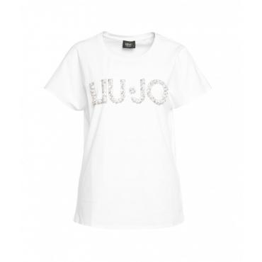 T-shirt con applicazione di perle bianco