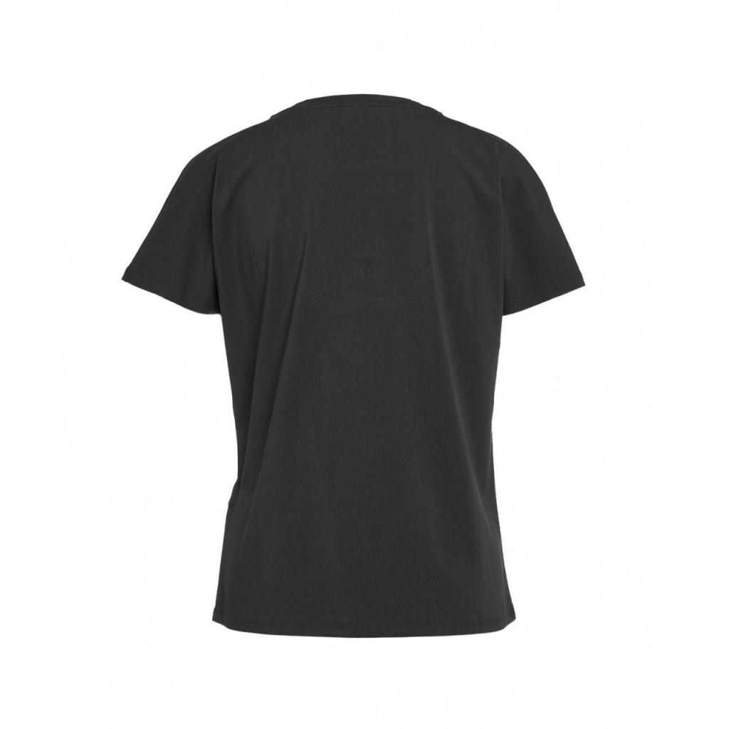 T-shirt con applicazione di perle nero