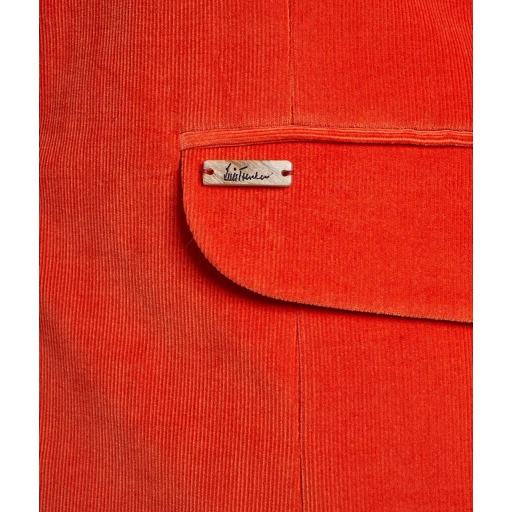 Giacca in velluto a coste con colletto rialzato arancione