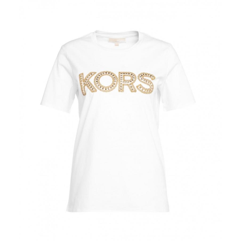 T-shirt con logo e rivetti bianco
