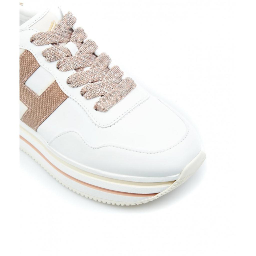 Sneakers con platform e logo glitterato bianco