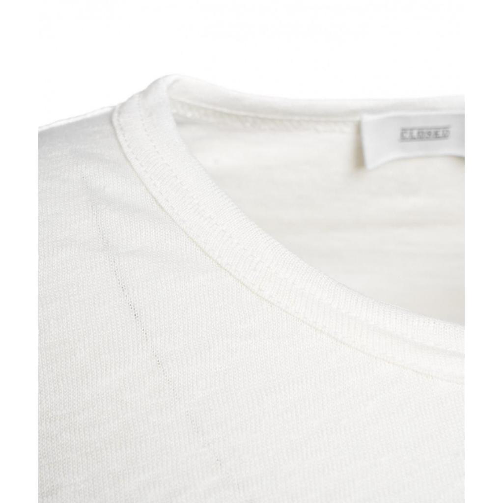 T-shirt in lino crema