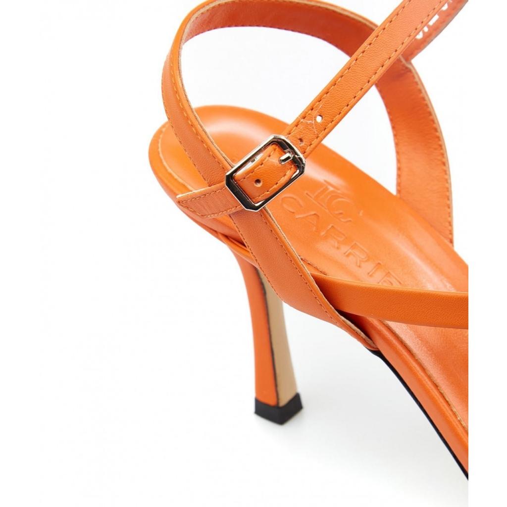 Sandali con tacco arancione