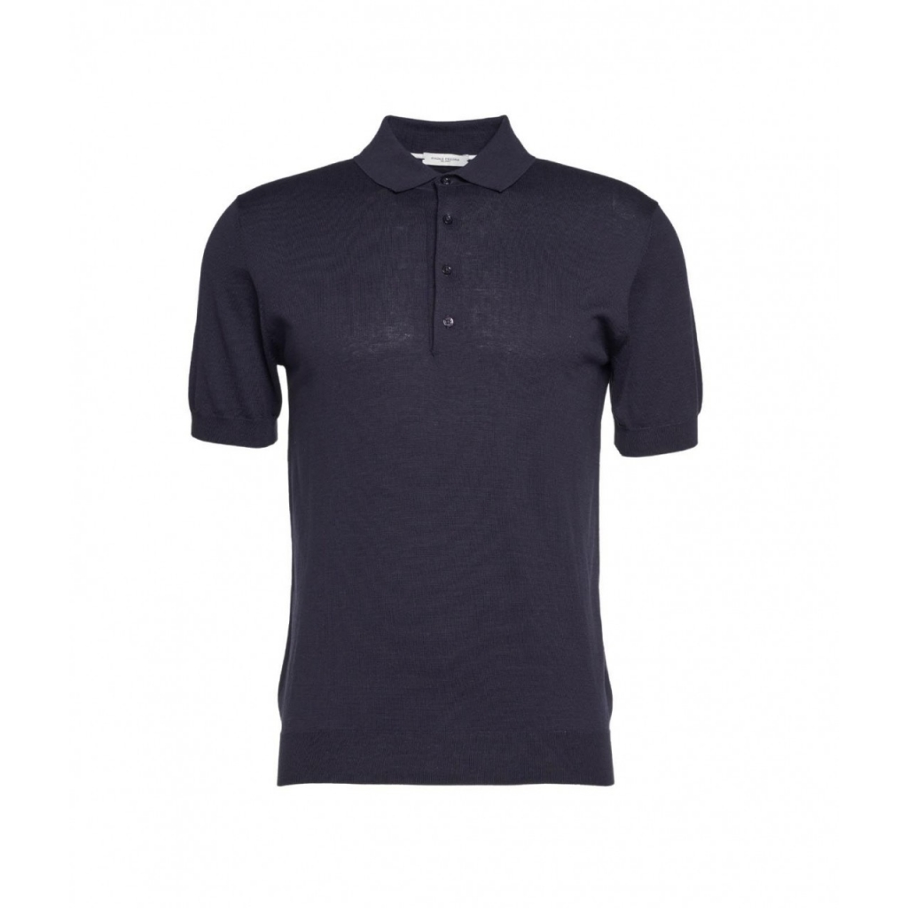 Polo in seta blu scuro
