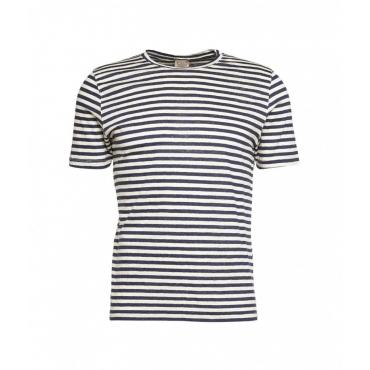 T-shirt con strisce in colore contrastante blu