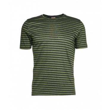 T-shirt con strisce in colore contrastante verde
