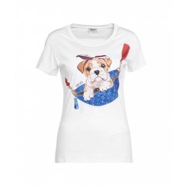 T-shirt con stampa e strass bianco