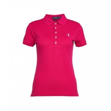 Polo con ricamo del logo pink