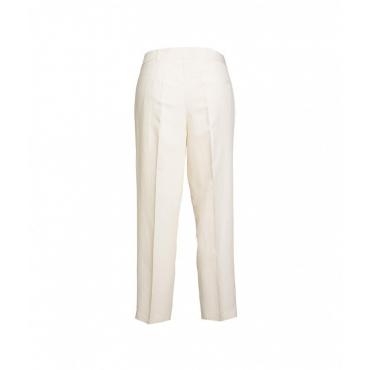 Pantaloni con piega crema