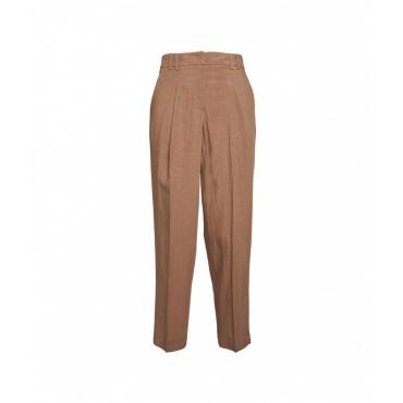 Pantaloni con piega marrone