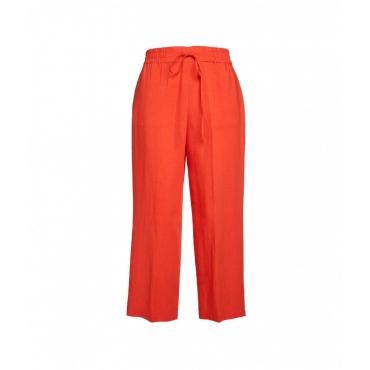 Pantaloni in lino arancione