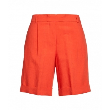 Shorts in lino arancione
