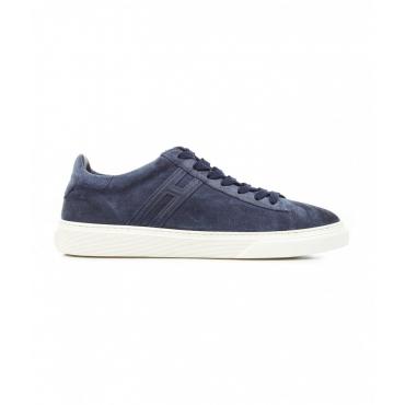 Sneaker in pelle blu scuro