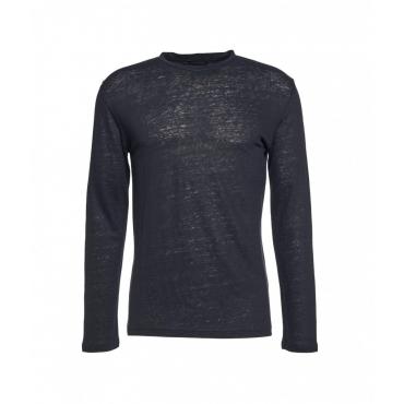 Shirt in lino blu scuro