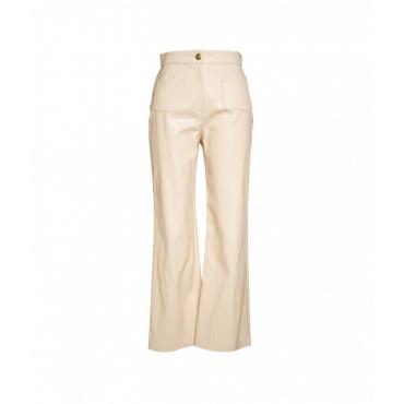 Pantaloni in ecopelle Baldo beige