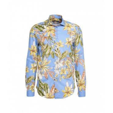 Camicia con stampa floreale blu