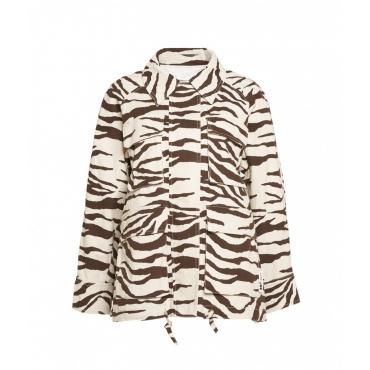 Jacke con stampa animalier beige