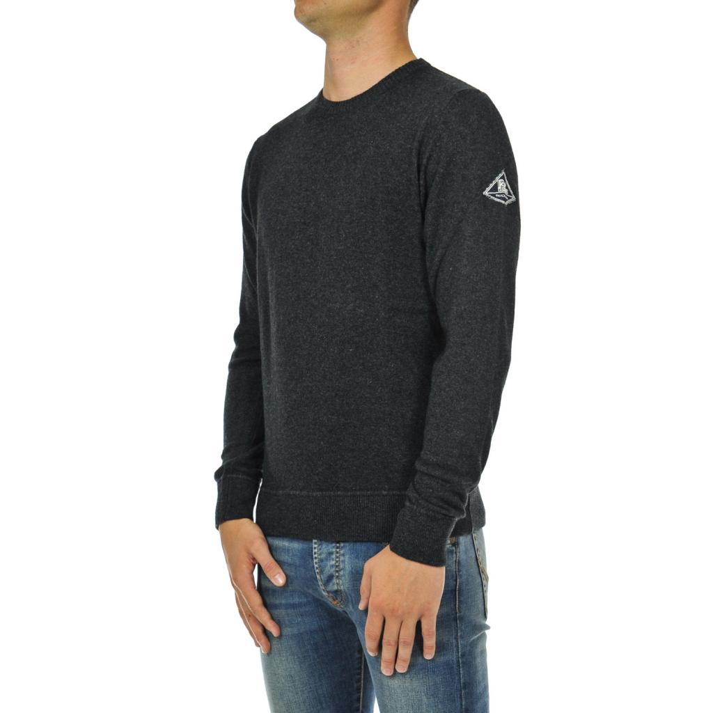 Anthrazitfarbener Pullover mit Rundhalsausschnitt aus Wolle
